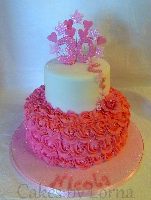 Buttercream Roses 30th Birthday Cake Cake Ideas Pinterest