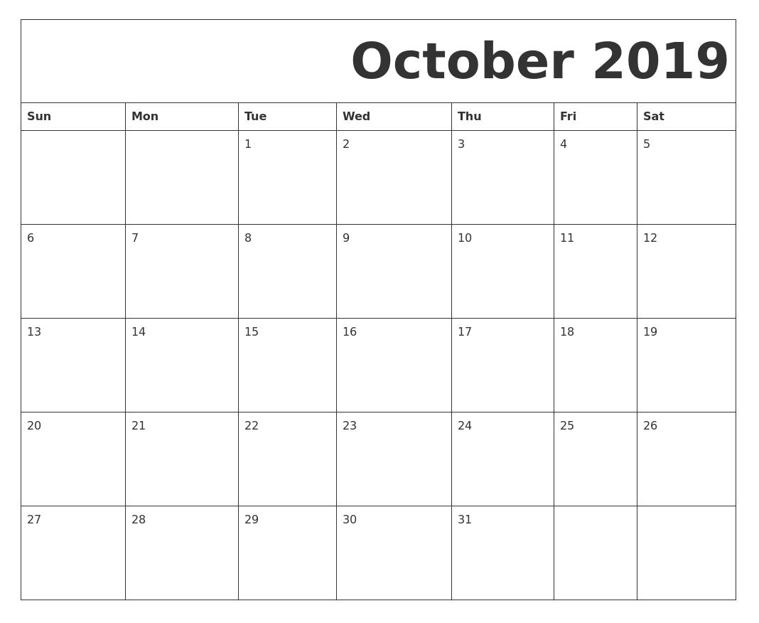 Blank October 2019 Calendar Printable Calendar Template Calendar Template 2019 Calendar