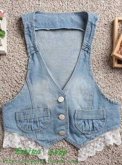 2013 fashion thin denim vest cardigan lace waistcoat denim cape female short jacket $43.32