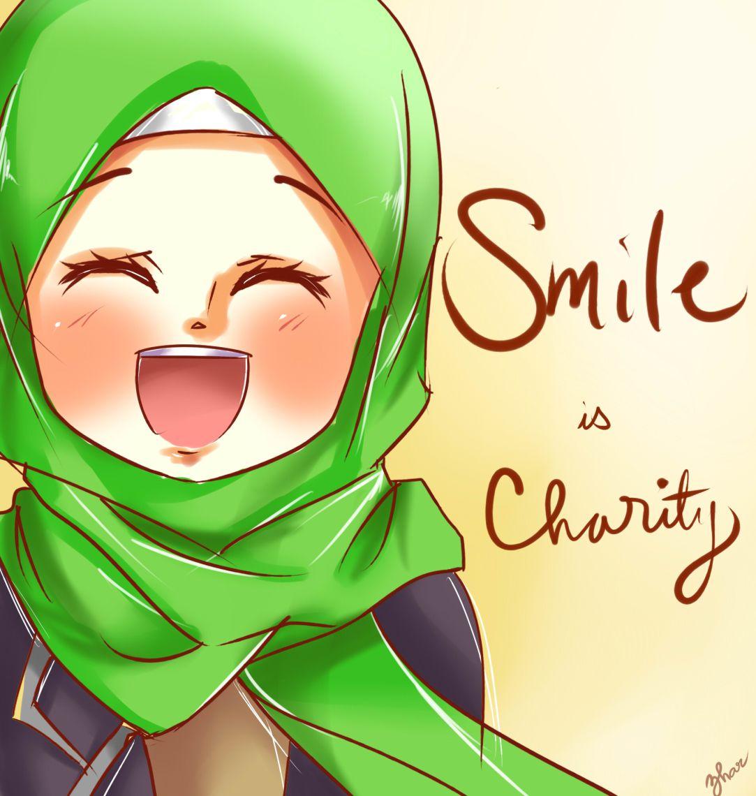 Smile! Anime muslim, Islamic cartoon, Hijab cartoon