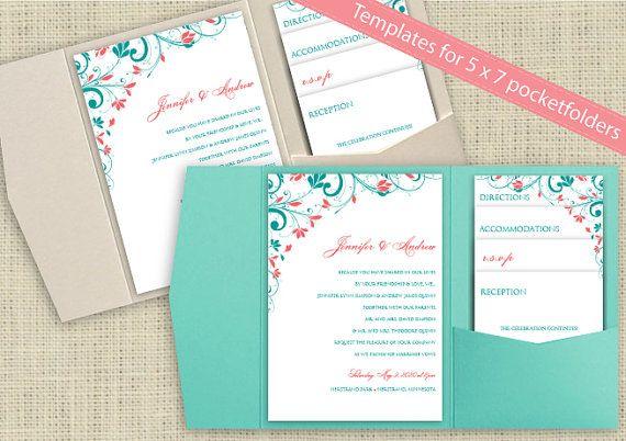 Bolsillo boda invitación plantilla Set - descarga inmediata - texto - formato para invitacion