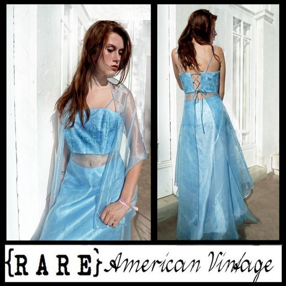 Copious: Vintage GODDESS Midruff Lace-up PROM PARTY Sheer Crepe Strapless DRESS