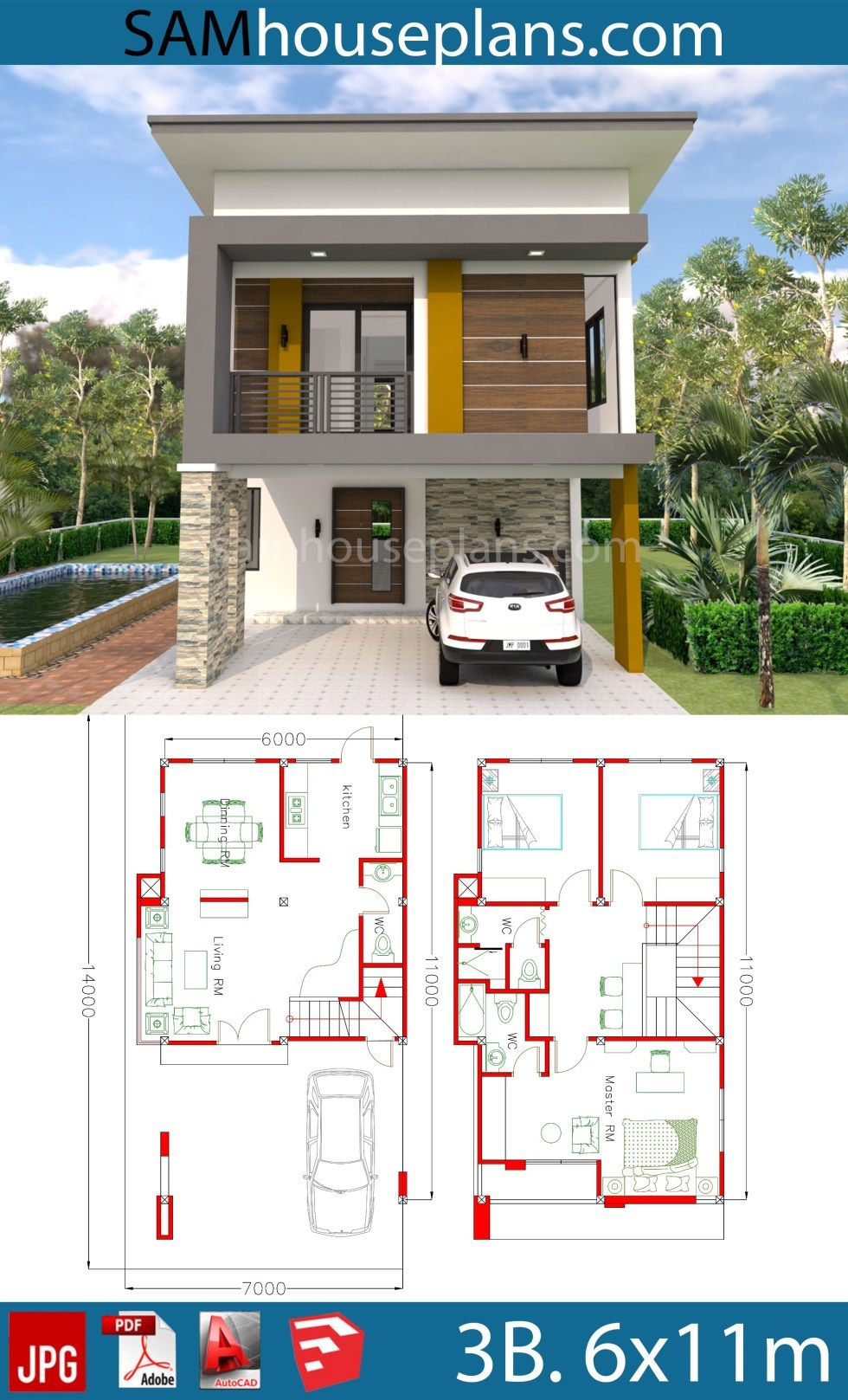 House Plans 6x11m With 3 Bedrooms With Images Narrow House Plans Duplex House Plans