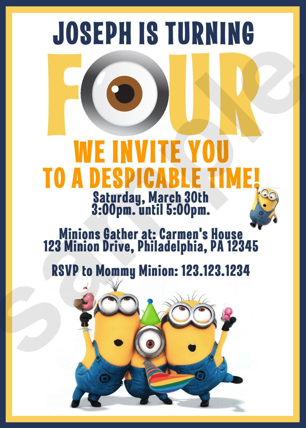 Minion Birthday Invitation 2 Digital File by CutieTootiePrints ...