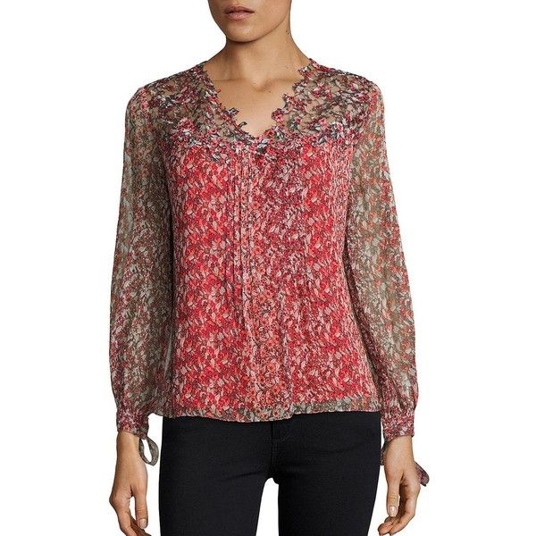 0a4ea2ca1ea Elie Tahari Brunella Floral Blouse ( 328) ❤ liked on Polyvore featuring tops