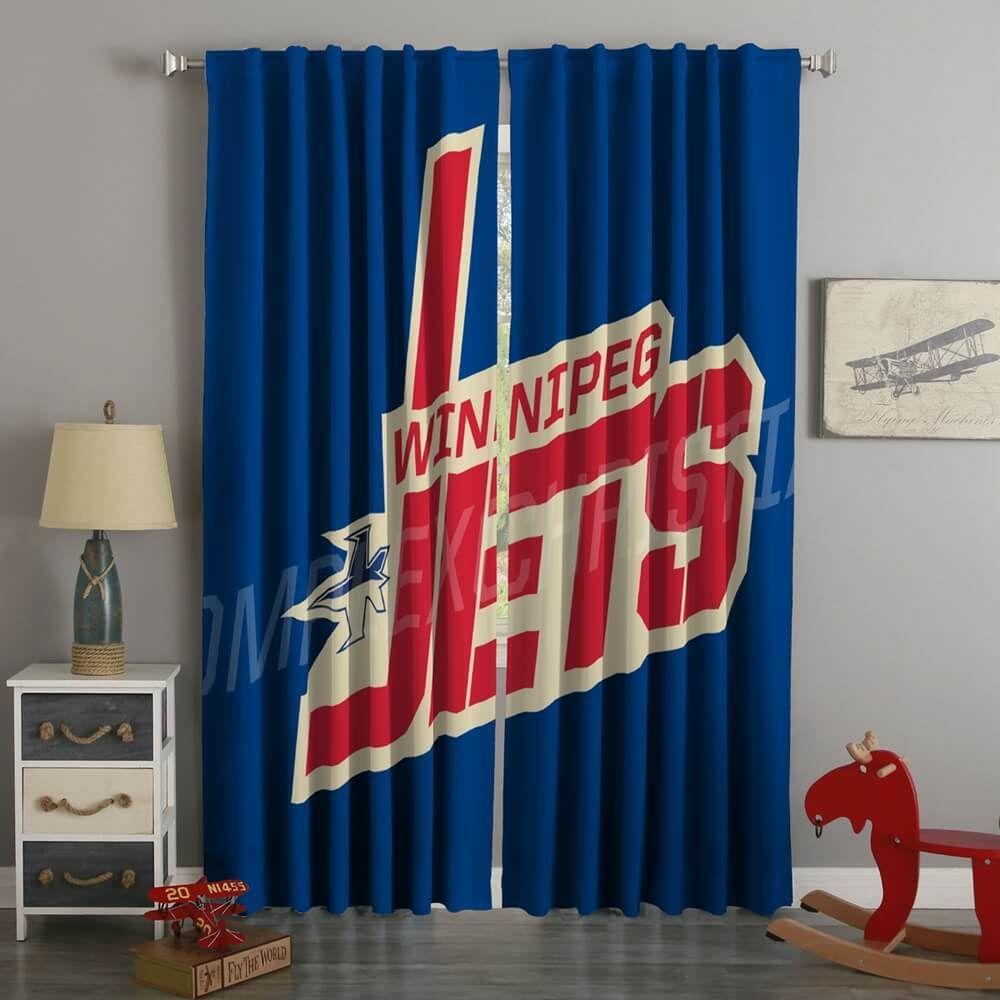 3d Printed Winnipeg Jets Style Custom Living Room Curtains