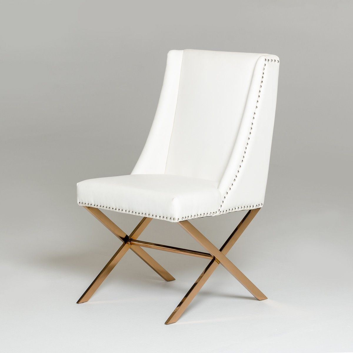 modern white u0026 rose gold dining chair showcases elegance upholstered in silkysmooth white leatherette