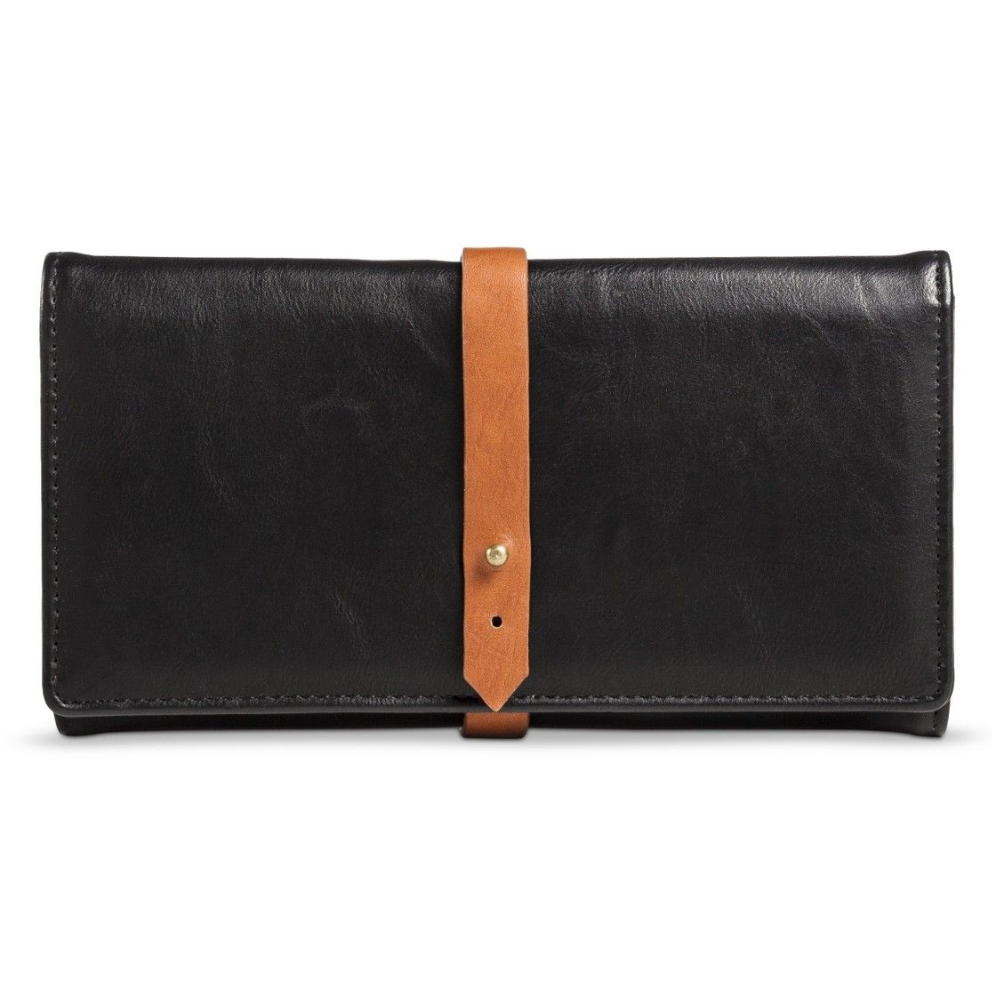 Women's Solid Wallet with Wrap Around Strap - Black
