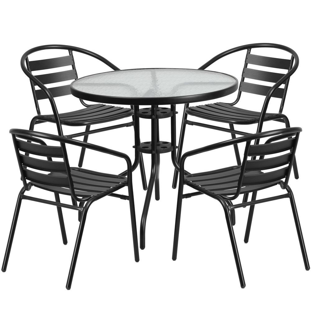 5Pc Patio Garden Dining Furniture Set Aluminum Glass Table Chair Delectable Clearance Dining Room Sets 2018