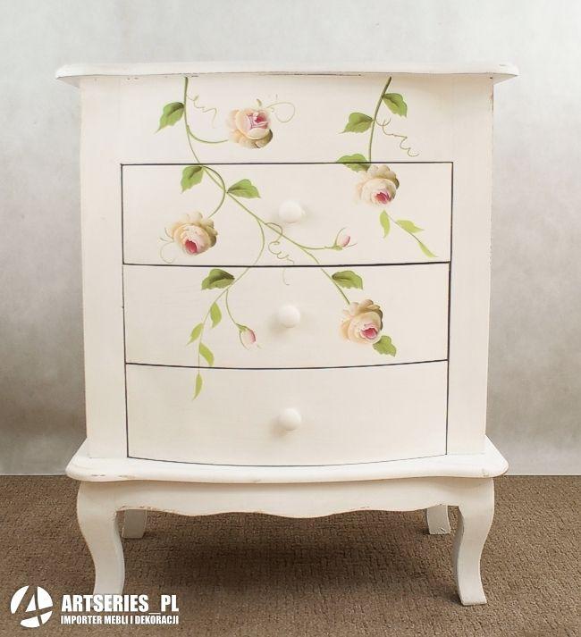 Stylowa Szafka Biala W Kwiaty 53290 Komoda Recznie Malowana Artseries Decor Furniture Painted Furniture