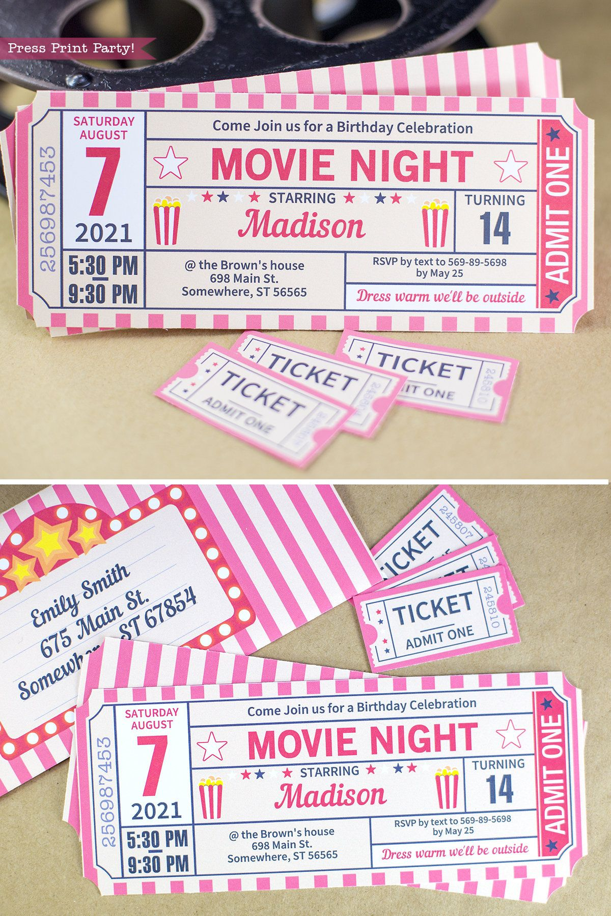 Movie Night Invitation Printables RED Vintage Ticket, Movie Ticket Stub Invite, Movie Ticket Template, Birthday party, INSTANT DOWNLOAD