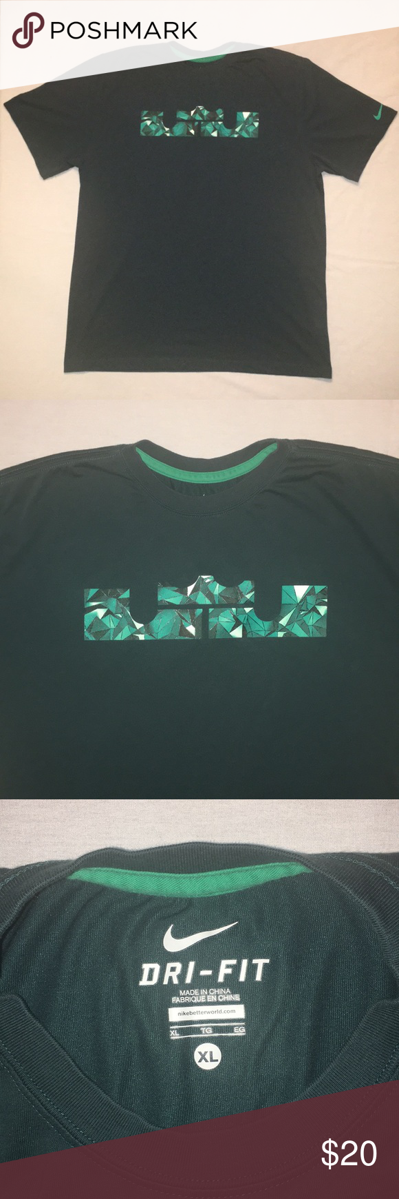 Nike X Lebron James Forest Green Graphic Tee Great Quality Shirt Nike Logo On Left Sleeve Forest Green Shirt With Mint Green L Graphic Tees Tees Lebron James [ 1740 x 580 Pixel ]