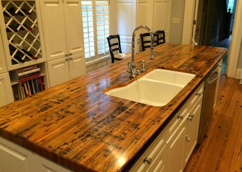 Reclaimed Boxcar Countertop Reclaimed Wood Cabinets