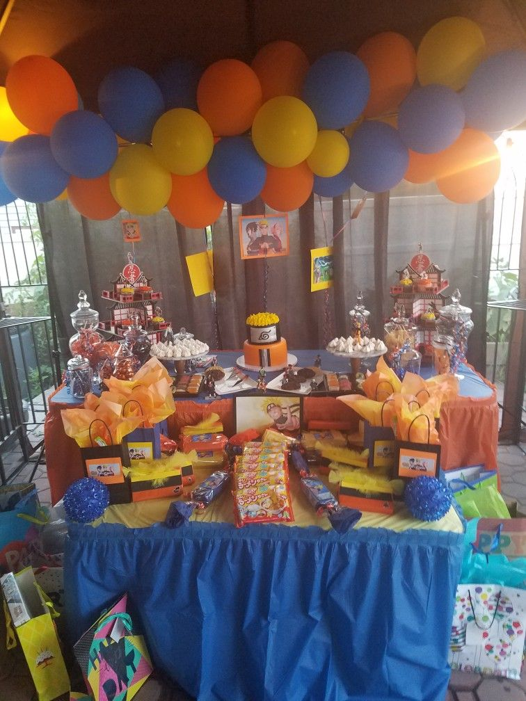Naruto Cake And Set Up For Naruto Themed Birthday Party