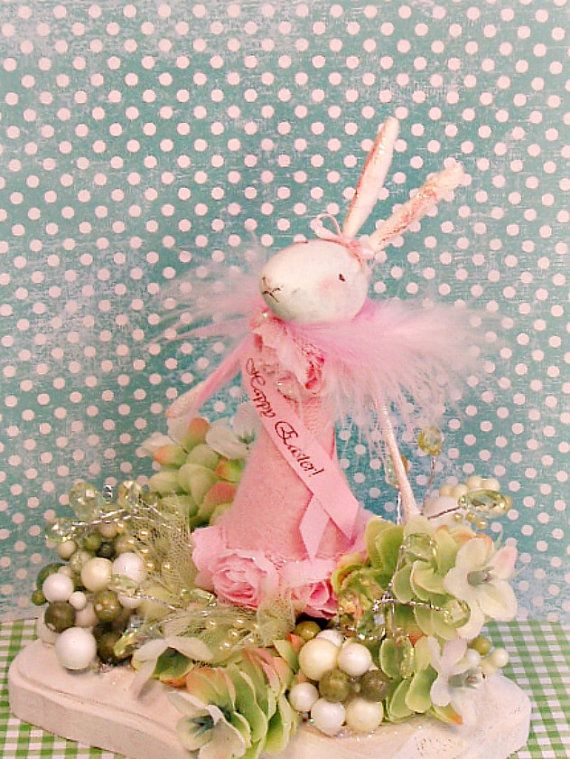 Shabby Chic Vintage Inspired White Bunny Rabbit Happy Easter Cake Topper Centerpiece