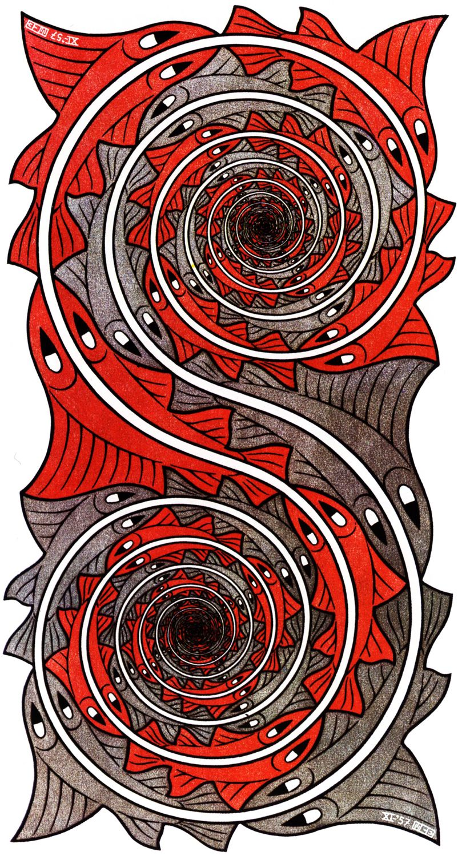 M.C. Escher, Whirlpools. Mathematical art. Never knew Maths could be ...