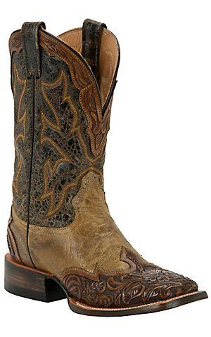 225cb8ea54 Stetson Mens Colton Maddog with Tan Brown Tooled Wingtip Square Toe Western  Boots