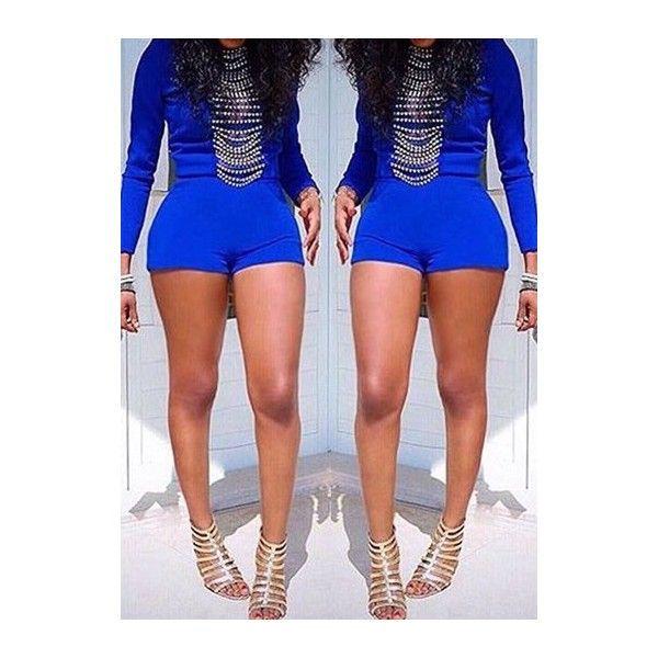 Rotita Long Sleeve Royal Blue Skinny Romper (€18) ❤ liked on Polyvore featuring jumpsuits, rompers, blue, playsuit romper, long-sleeve rompers, print romper, blue rompers and patterned romper