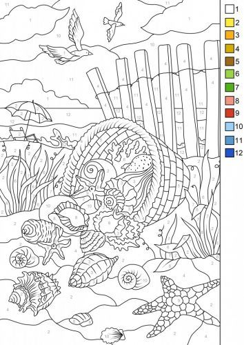 Download This Free Color By Number Page From Favoreads Get A Cool Bonus The Same Design Withou Beach Coloring Pages Color By Number Printable Coloring Pages