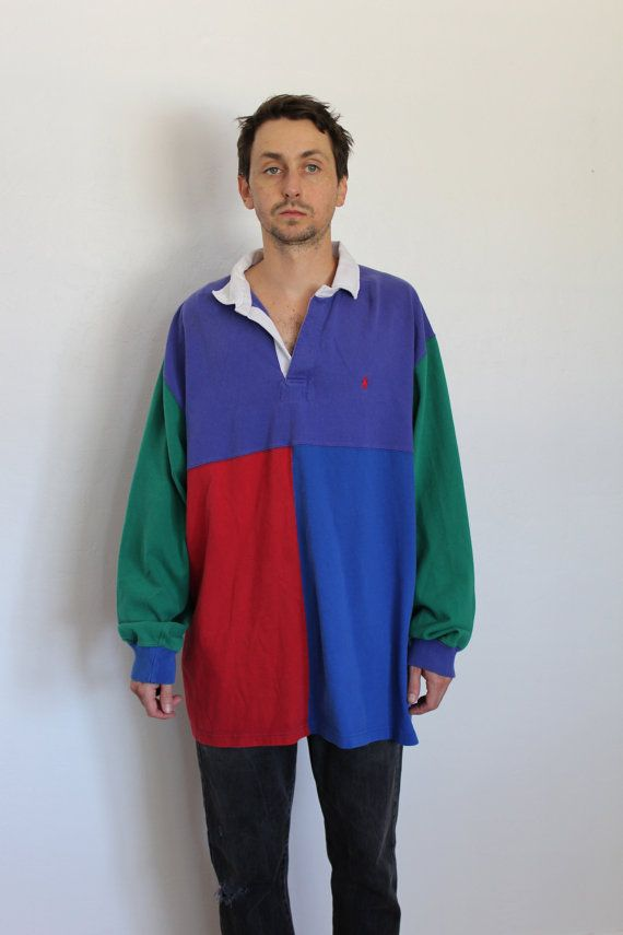90s Polo Ralph Lauren Colorblock Rugby Jersey by FiestaForever