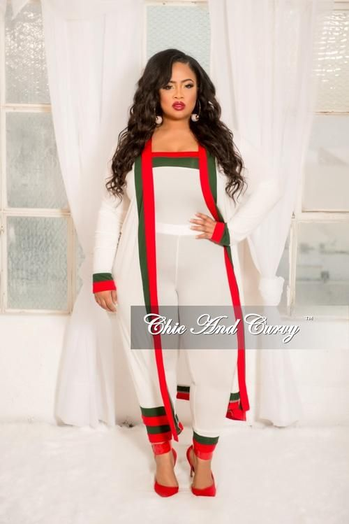 Final Sale Plus Size 3 Piece Duster Crop Top and High Waist Pants
