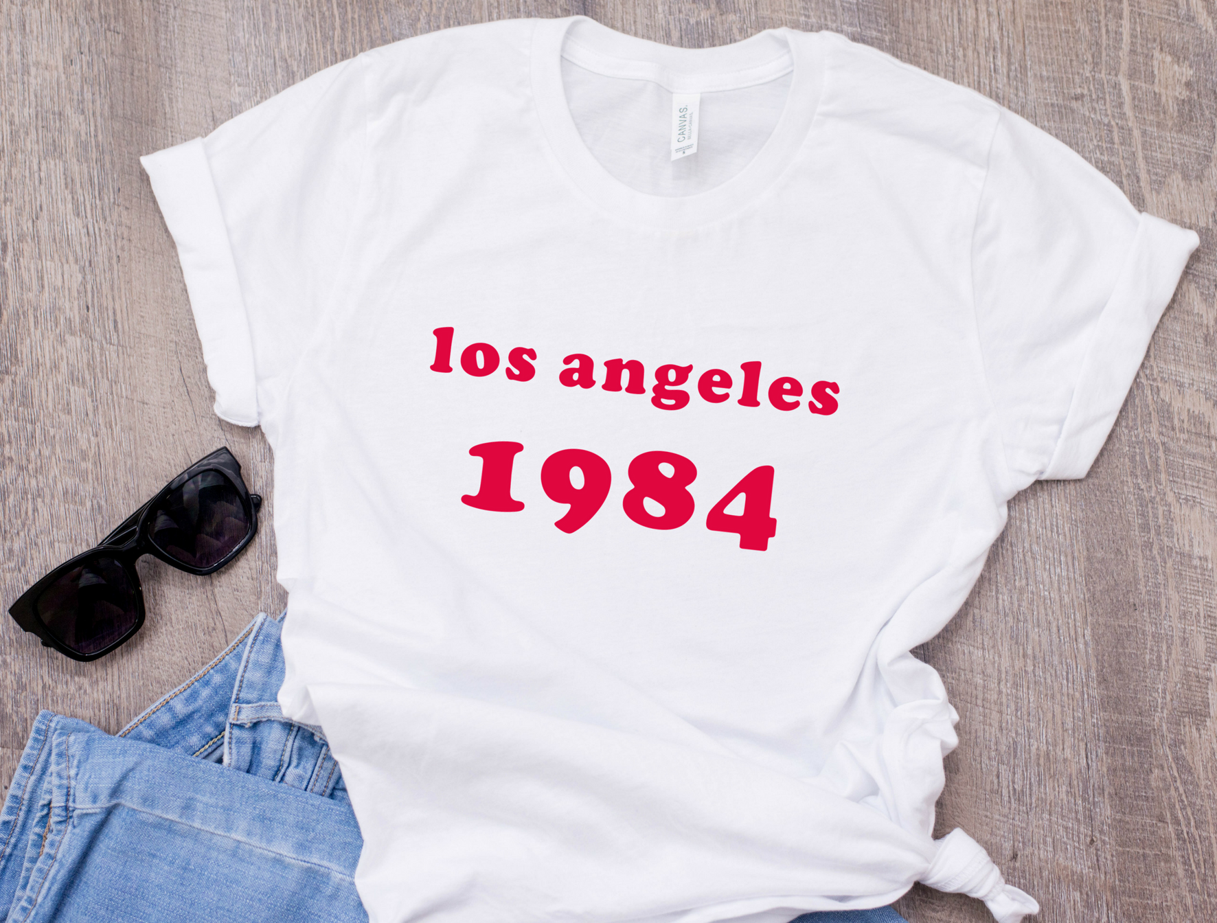 Los Angeles T Shirt LA 34th Birthday 1984 Gift For Her 80s Clothing Fashion