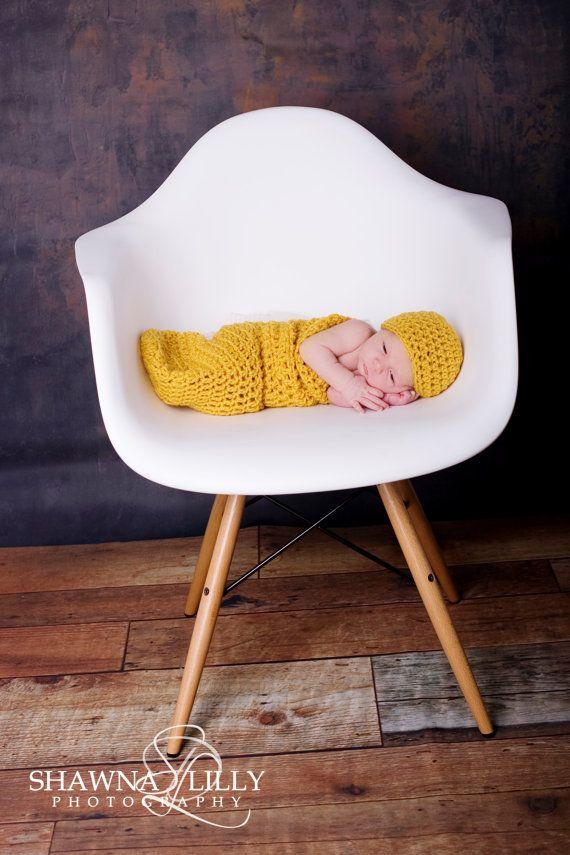 Newborn Cocoon Set in Mustard Yellow llllll by PinkPumpkinCrochet, $34.00