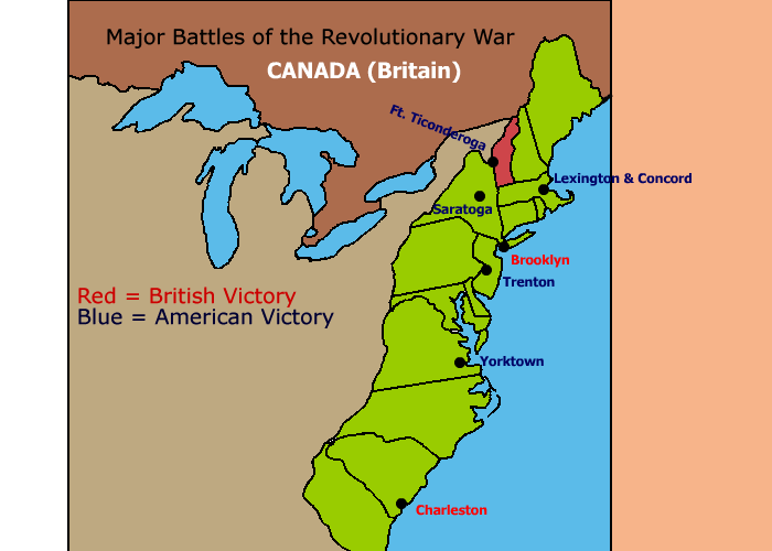 Major battles of the Revolutionary War map