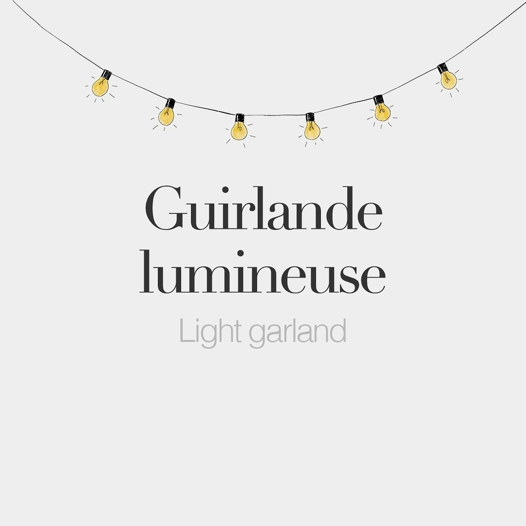 Guirlande lumineuse feminine word Light garland É¡iʁ lɑd ly mi n¸z