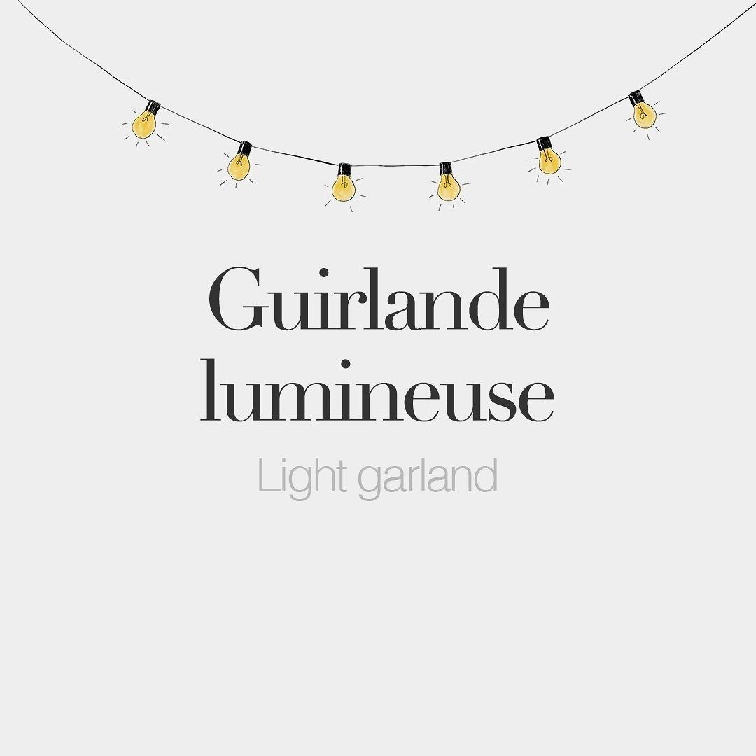 Guirlande lumineuse feminine word Light garland É¡iʁ lɑd ly mi n¸z