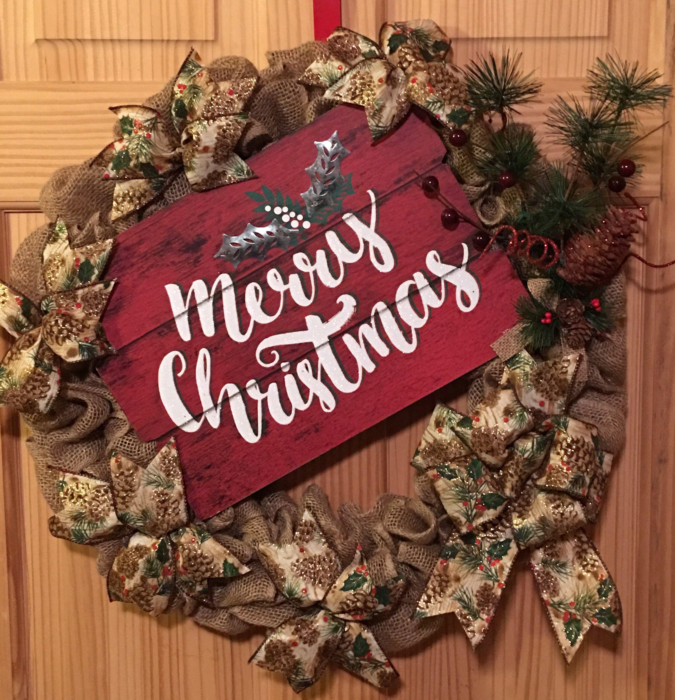Merry Christmas Burlap Wreath Crafts Pinterest