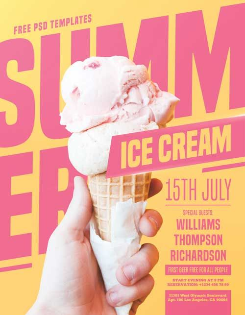 Check Out The Summer Ice Cream Party Free Psd Flyer Template Only On Https Freepsdflyer Com Free Psd Flyer Templates Graphic Design Flyer Food Poster Design