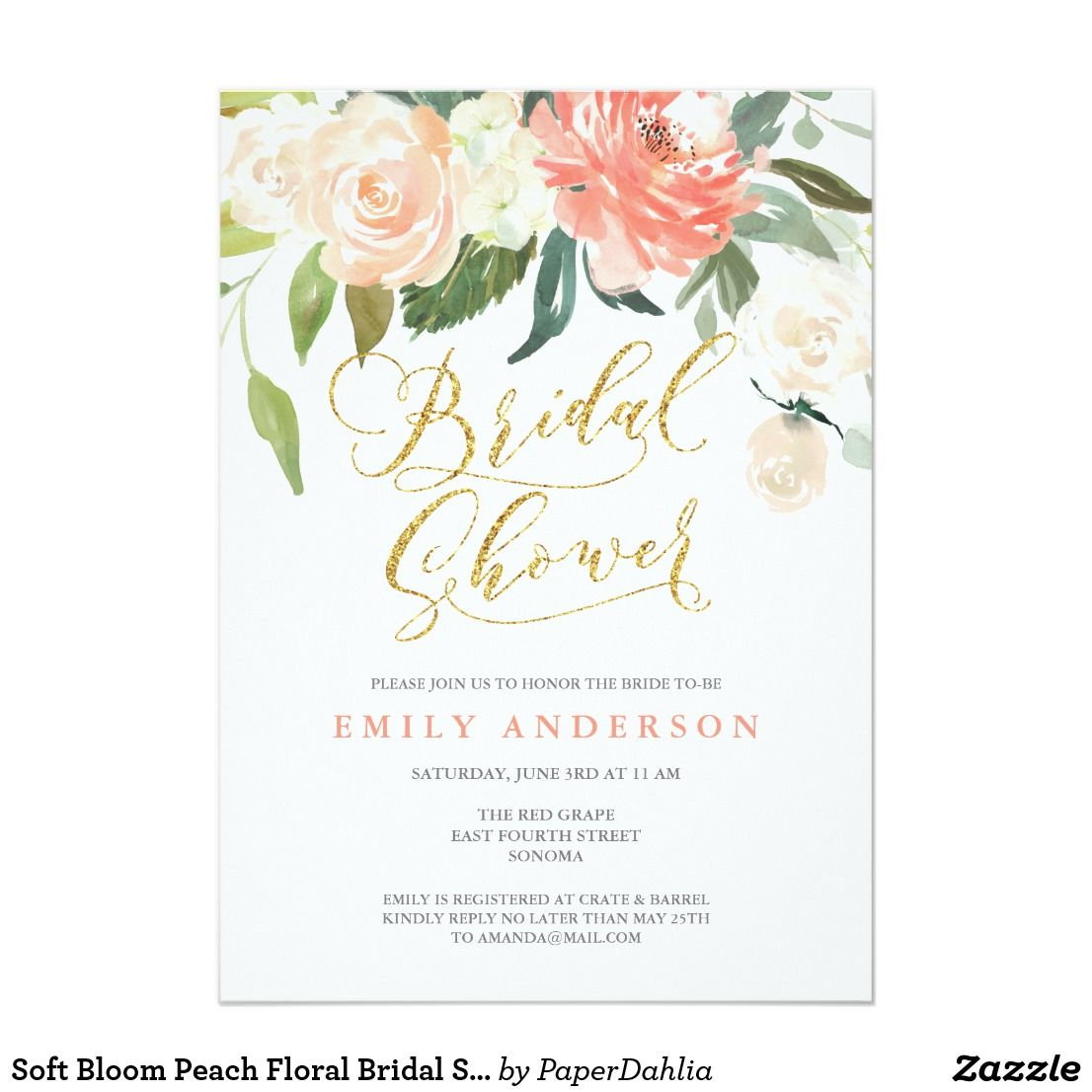 Soft Bloom Peach Floral Bridal Shower Invitation Shower