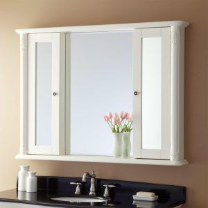 Beautiful White Recessed Medicine Cabinet with Mirror