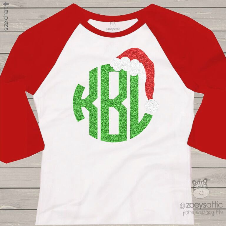 etsy holiday shirt monogram glitter santa hat personalized adult raglan tshirt