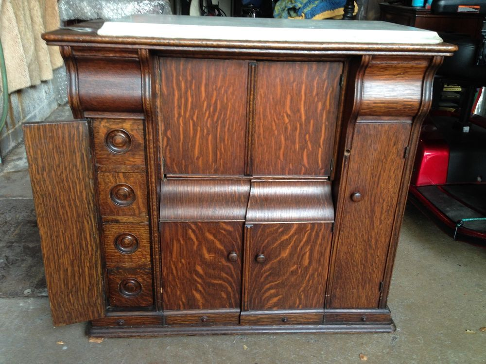 Antique Fancy Oak Singer Sewing Machine Cabinet Only Love These Drawing