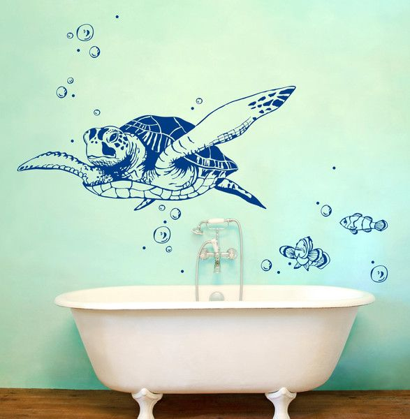 Wandtattoo Schildkröte Fische Wanddeko Bad M1533 von ...