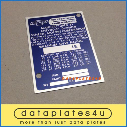 Chevrolet Truck Info Data Plate Id Tag Vin Registration Door Post