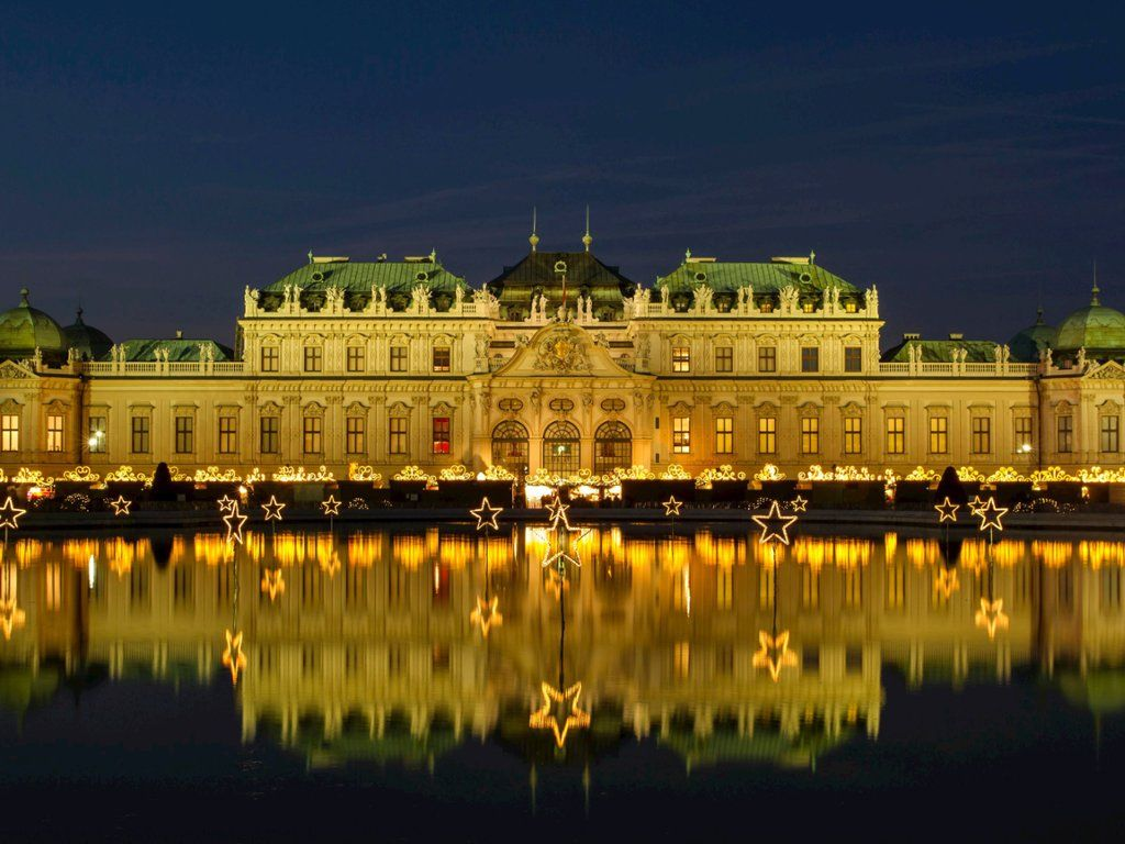 Belvedere Palace at Christmas, Vienna, Austria Scenery