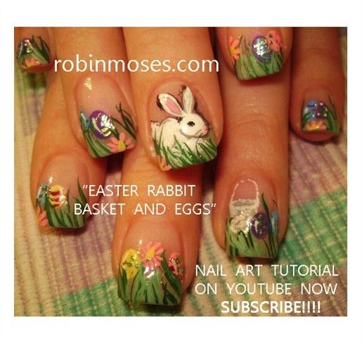 Bunny In Easter Grass With Hidden Eggs Robin Moses Easter Nails
