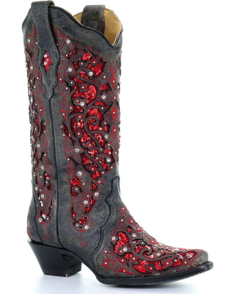 Corral womens crystal and red sequin inlay cowgirl boots