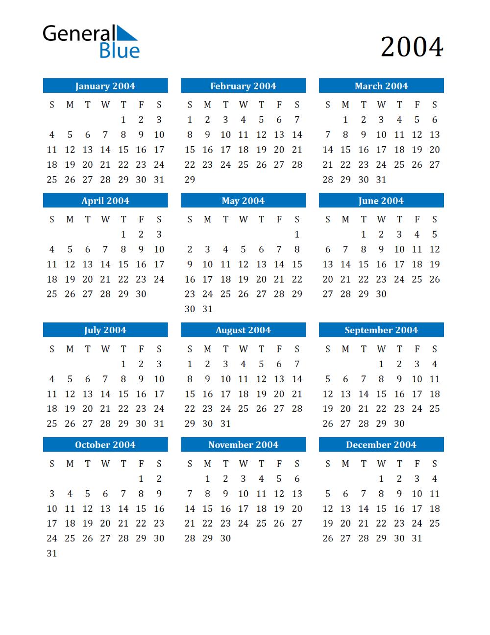 2004 calendar Google Search in 2020 Printable calendar