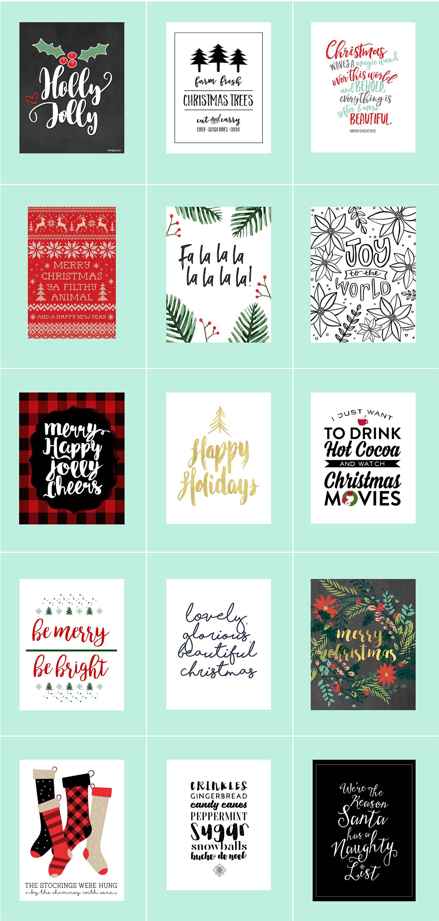 30 Free Christmas Printables • Last Minute Decor Pinterest