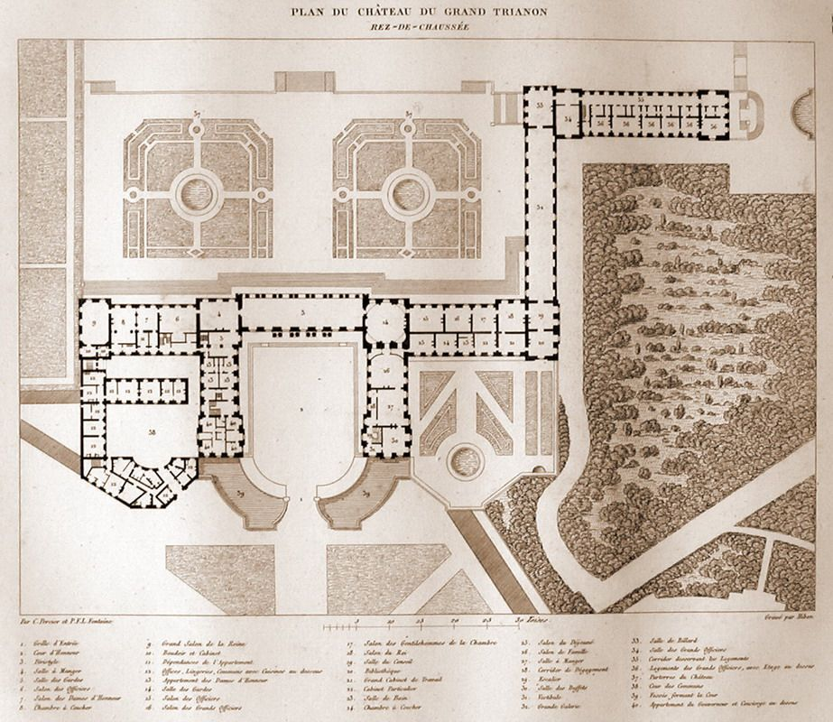 Plans of the Grand Trianon, Versailles 1687 Jules
