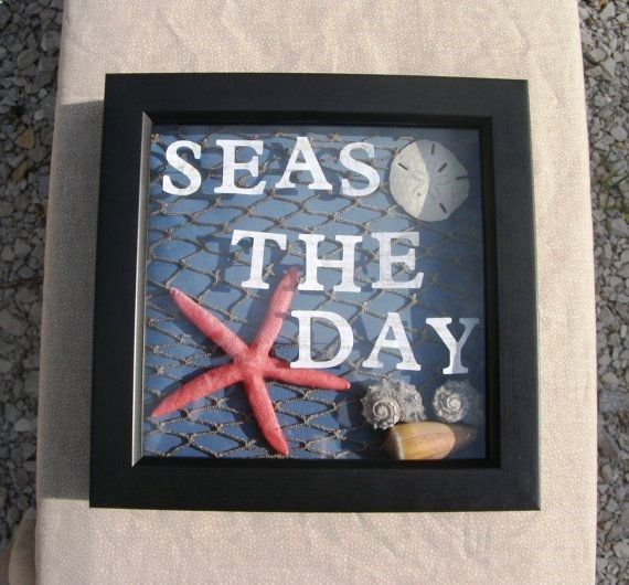 Beach Theme Home Decor Shadow Box Beach Gift: Shadow Box Black Frame Beach Theme Beach Decor By