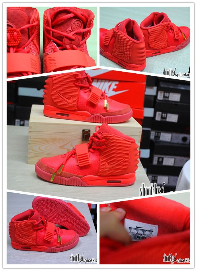 New Authentic Look Nike Air Yeezy 2 Red October With Wooden Box