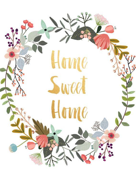 Home Sweet Home, druckbare Kunst, Typografie Print, Blumenkranz, moderne Wand Print, Housewarminggeschenk, digitaler Download, Wanddekoration