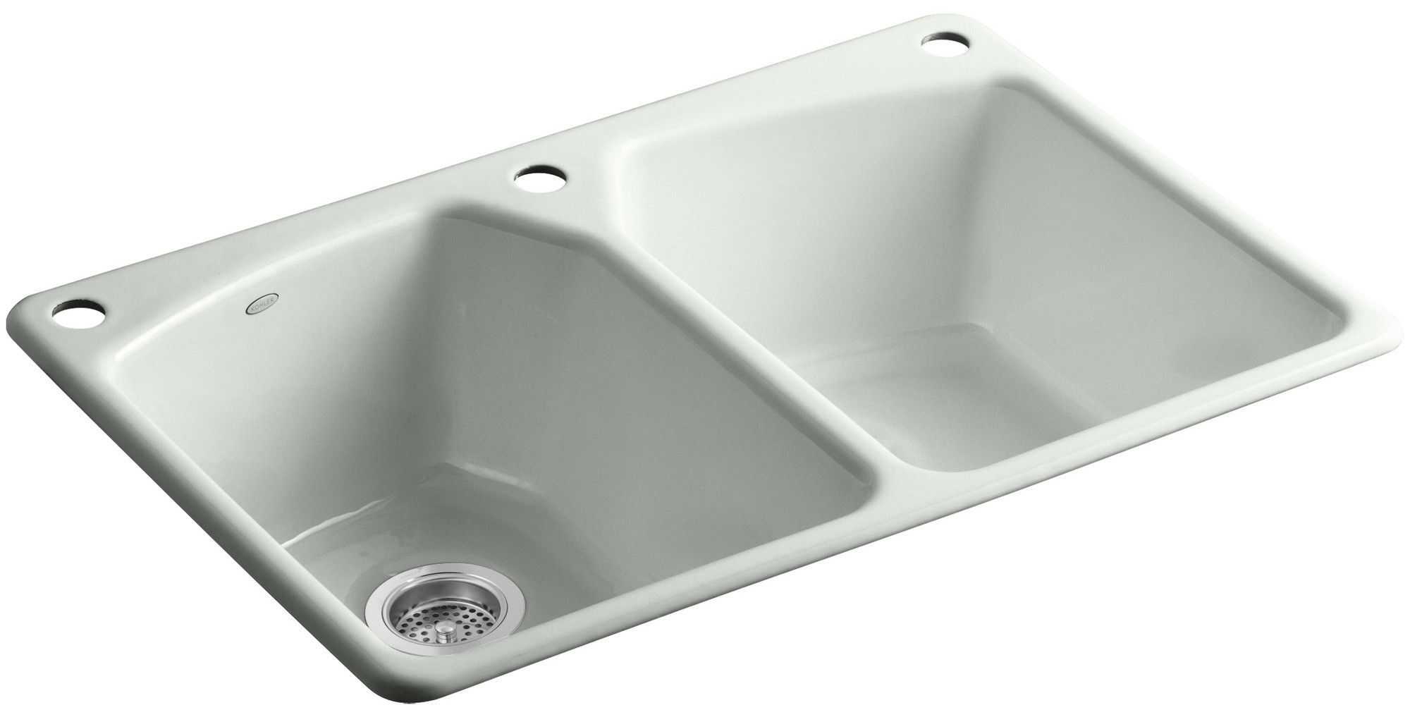 "Tanager 33"" x 22"" x 9-5/8"" Top-Mount Double-Equal Bowl Kitchen Sink with Three Holes: 1 Faucet Hole and Right Hand and Left Hand Accessory Holes"