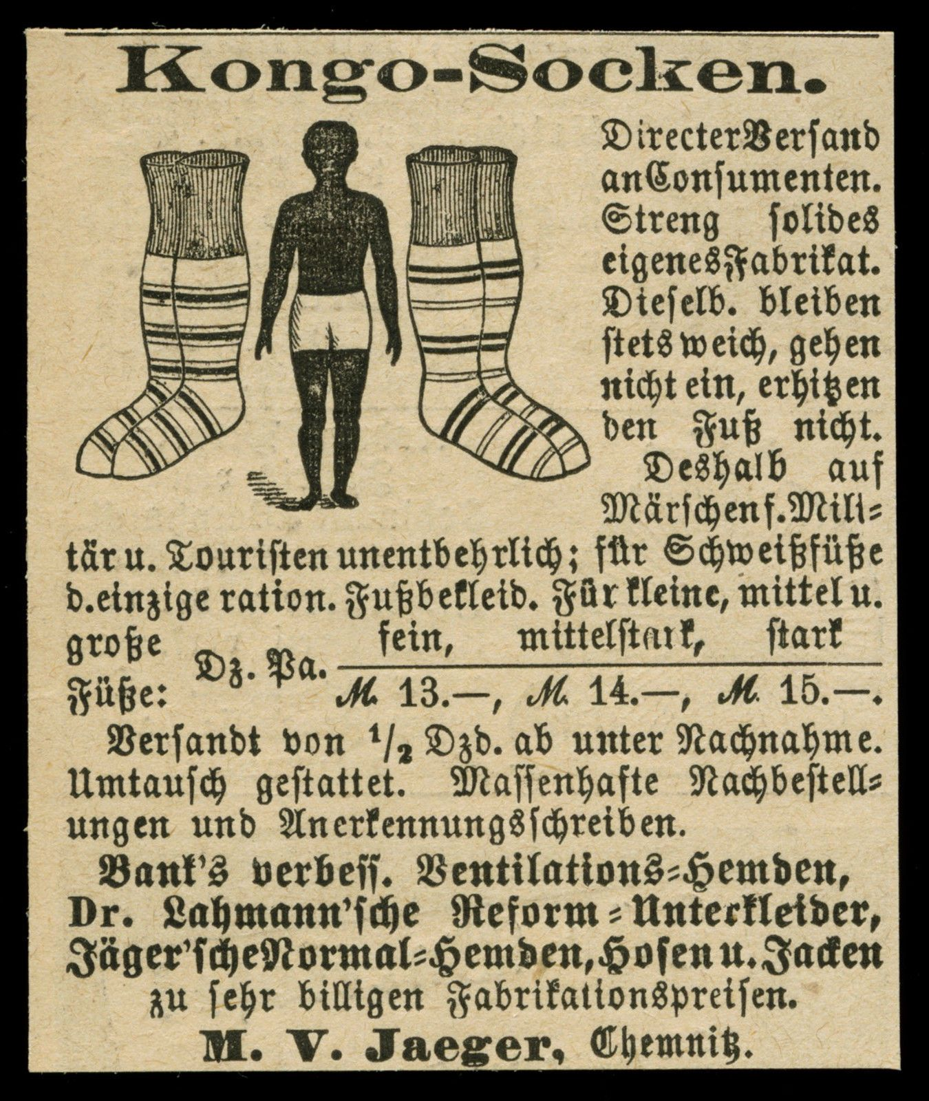 alte reklame werbung 1887 kongo socken m v jaeger chemnitz ebay accessoires viktorianisch. Black Bedroom Furniture Sets. Home Design Ideas