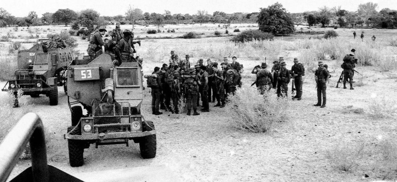 Sadf Troops Conferring Near Their Buffel Mine Resistant Vehicles War African History Apartheid South Africa
